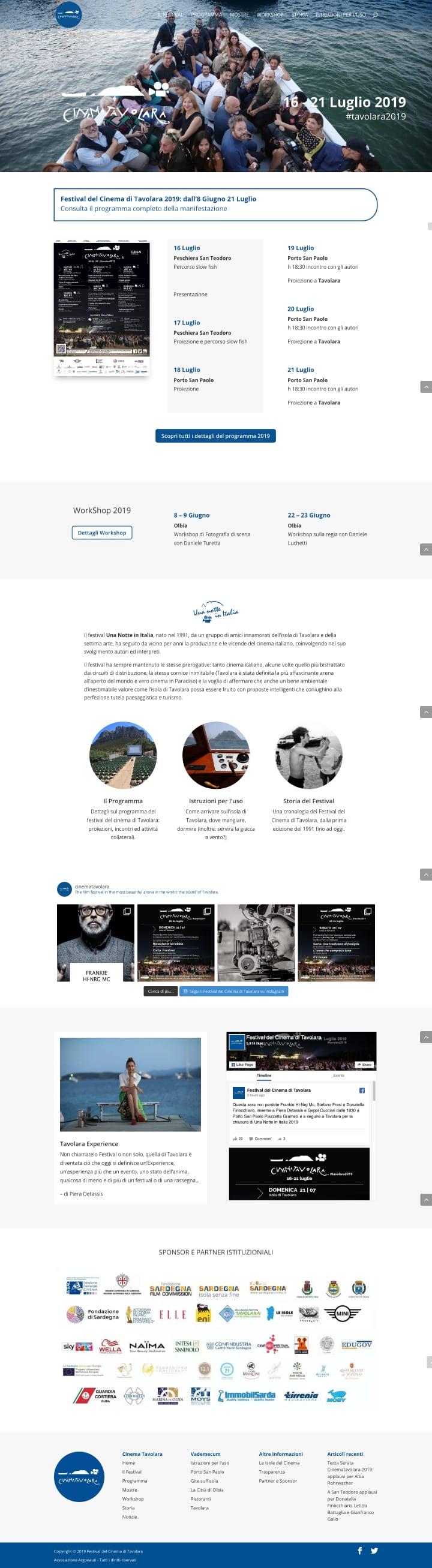 Home - Festival del Cinema di Tavolara screenshot sito internet