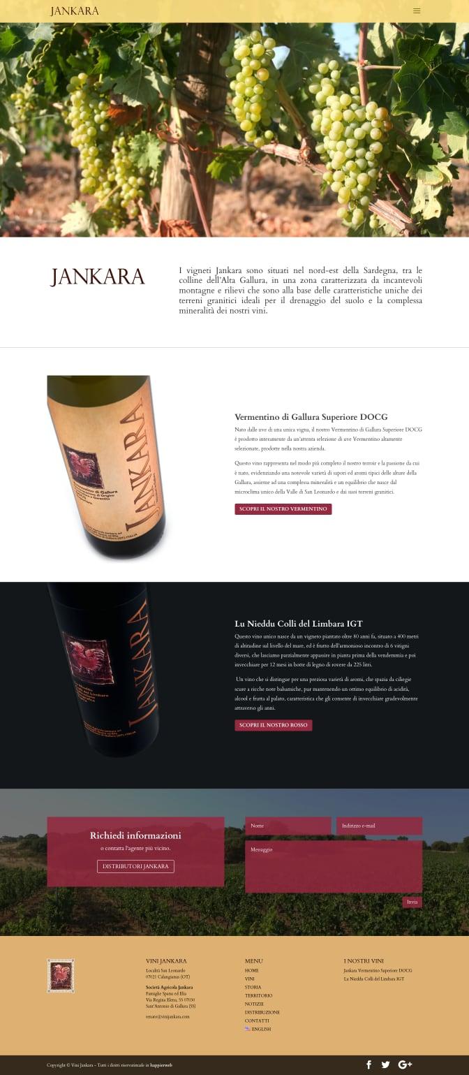 Vini Jankara Viticoltori in Gallura, produttori del Vermentino di Gallura screenshot home portfolio