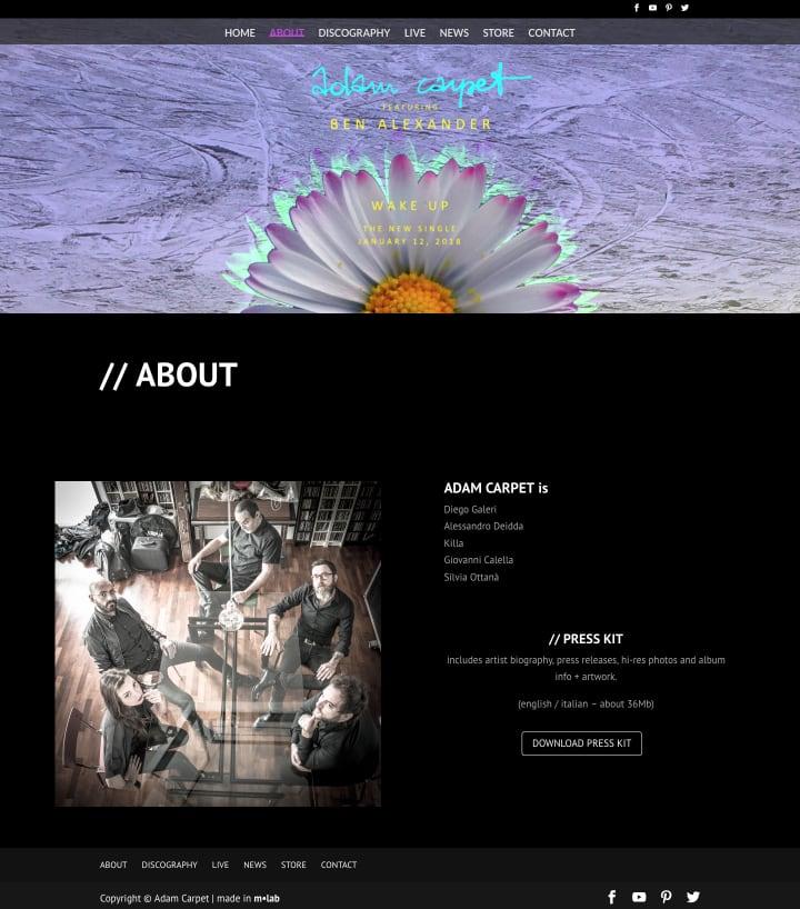 Adam Carpet - About page screenshot