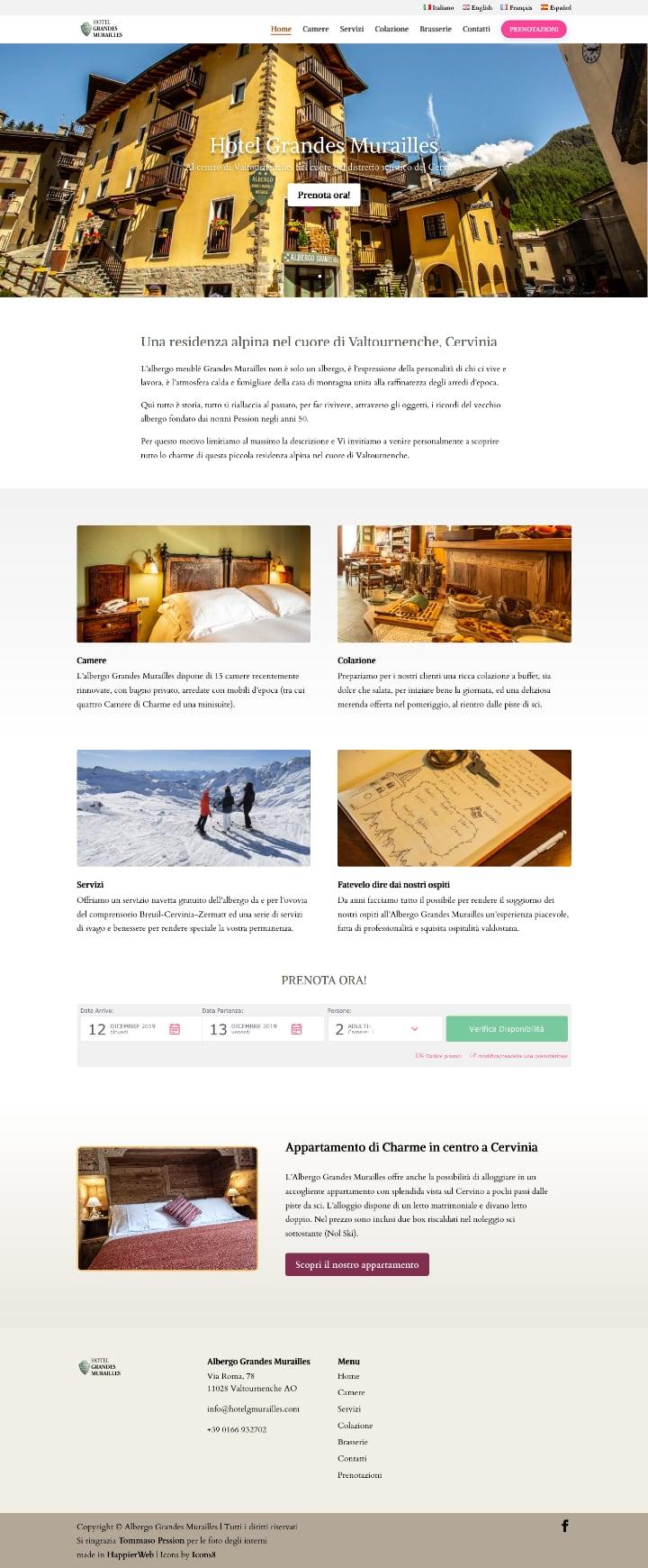 Screenshot home page Hotel Grandes Murailles, Valtournenche