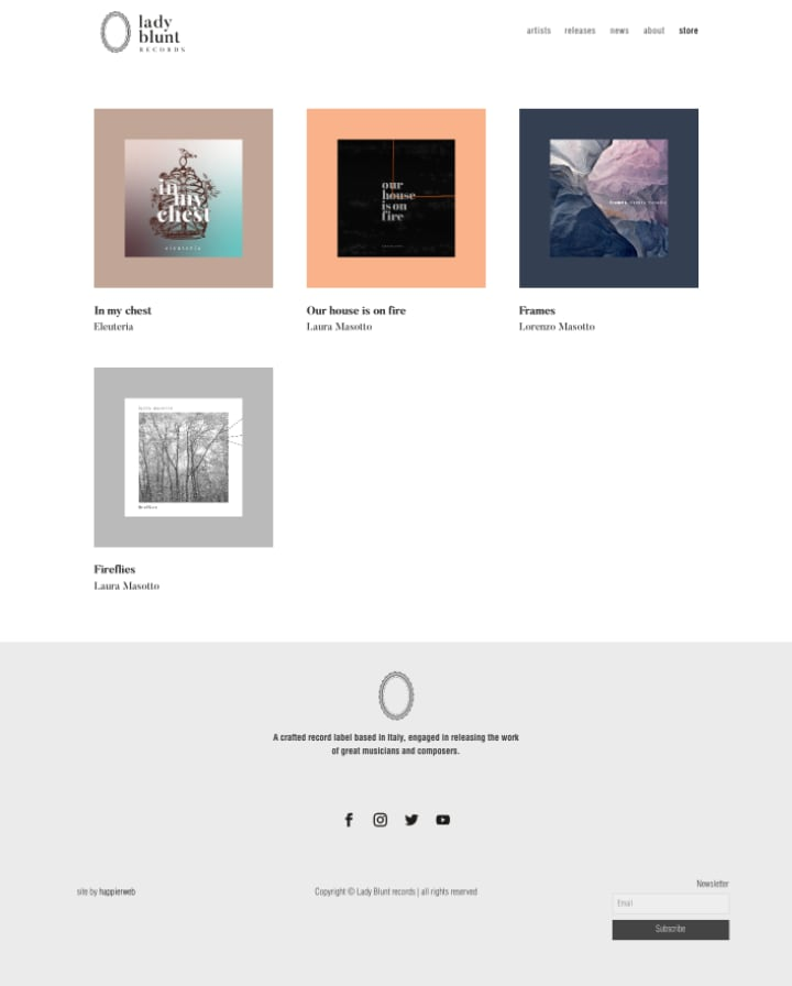 Lady Blunt Records store page screenshot