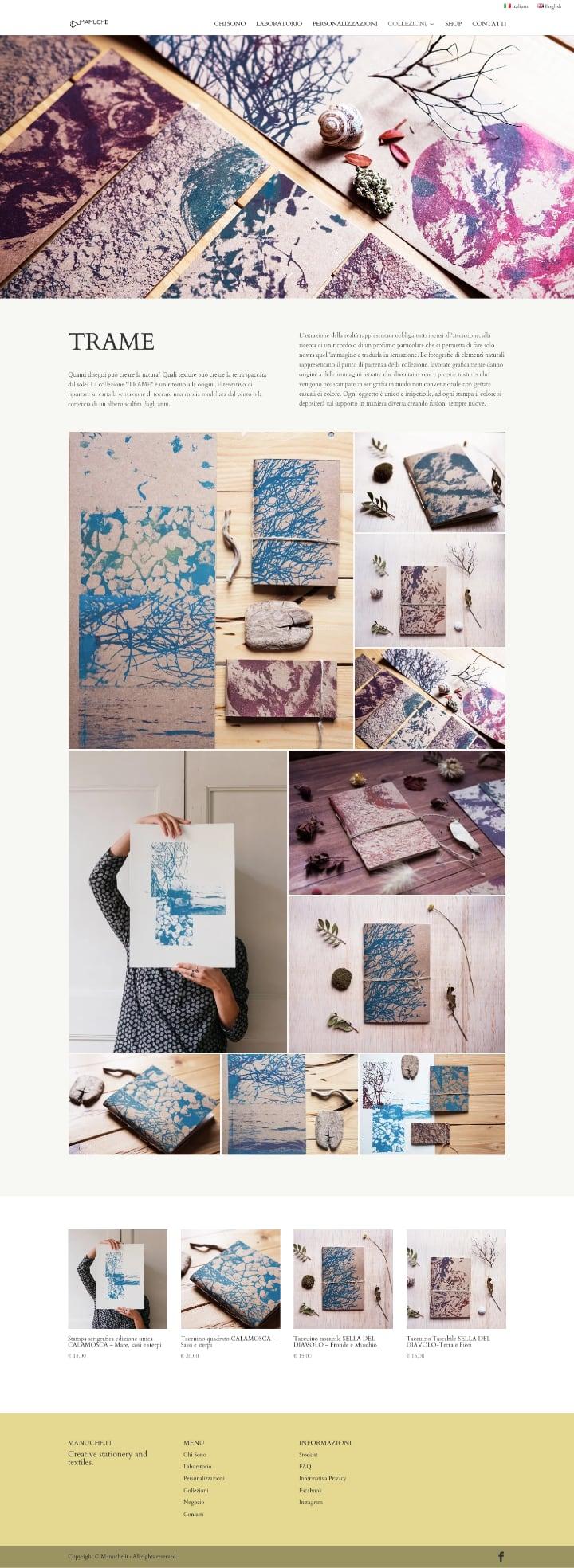 Manuche screenshot pagina collezione Trame