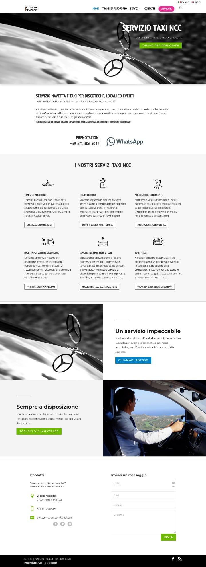 Porto Cervo Taxi Service Chauffeur site screenshot