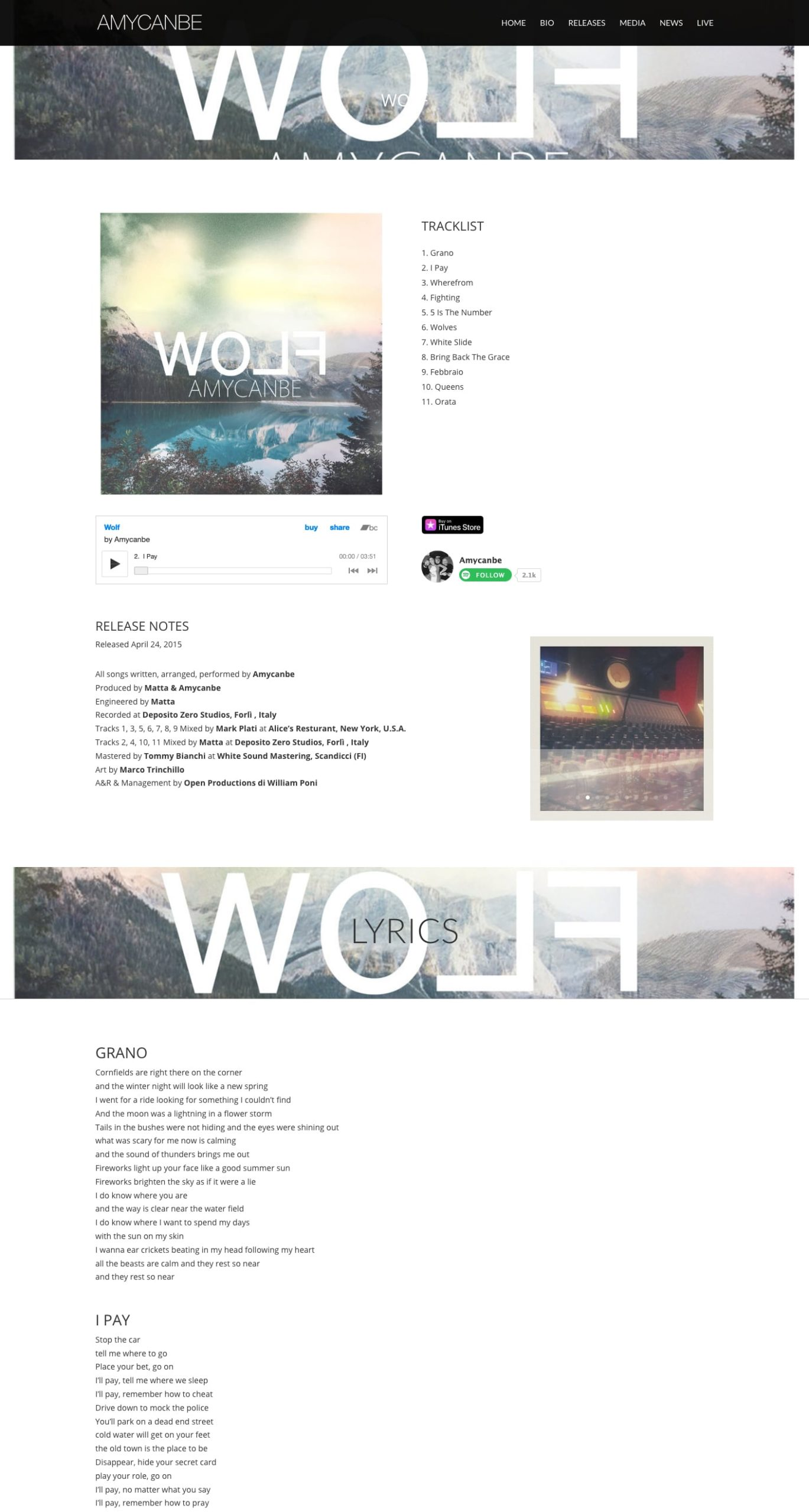Amycanbe Wolf release page screenshot